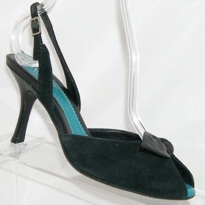 Cole Haan black leather bow buckle slingback 6B